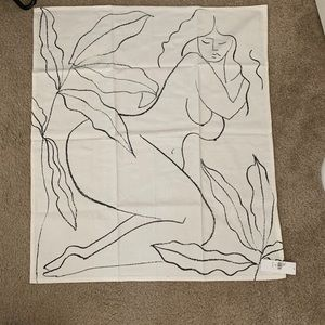 Line drawing woman tapestry